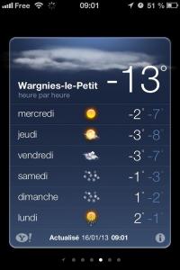 Météo Wargnies -13°C