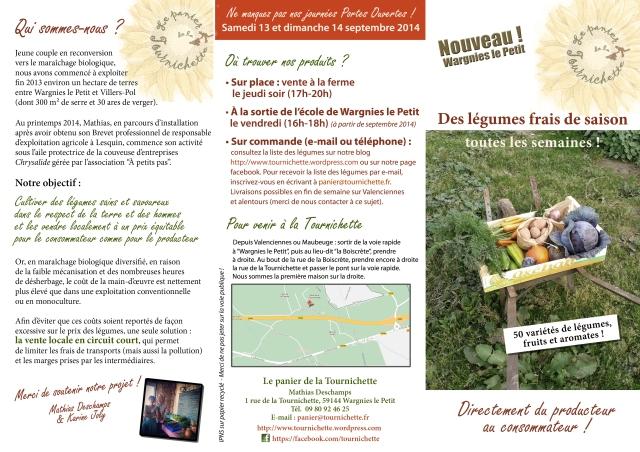 Dépliant publicitaire du Panier de la Tournichette (recto)