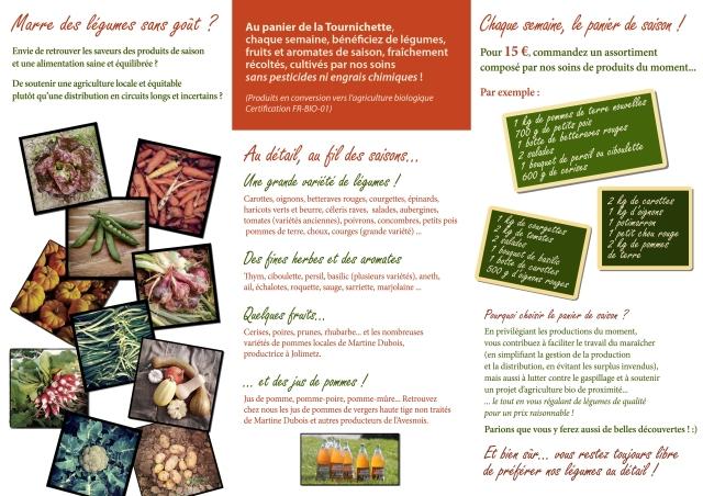 Dépliant publicitaire du Panier de la Tournichette (verso)