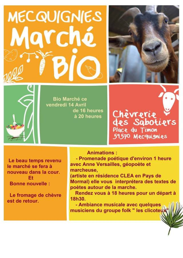 Affiche du marché bio à Mecquignies