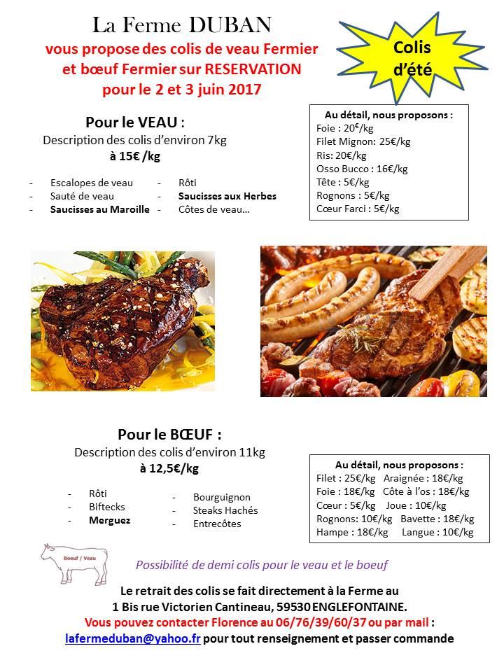 Détail des colis de viande