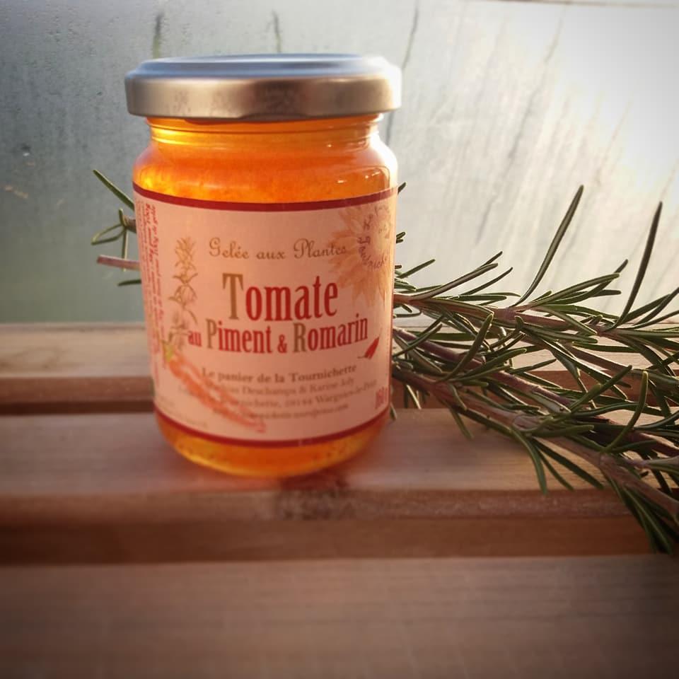 gelée de tomate au piment et romarin