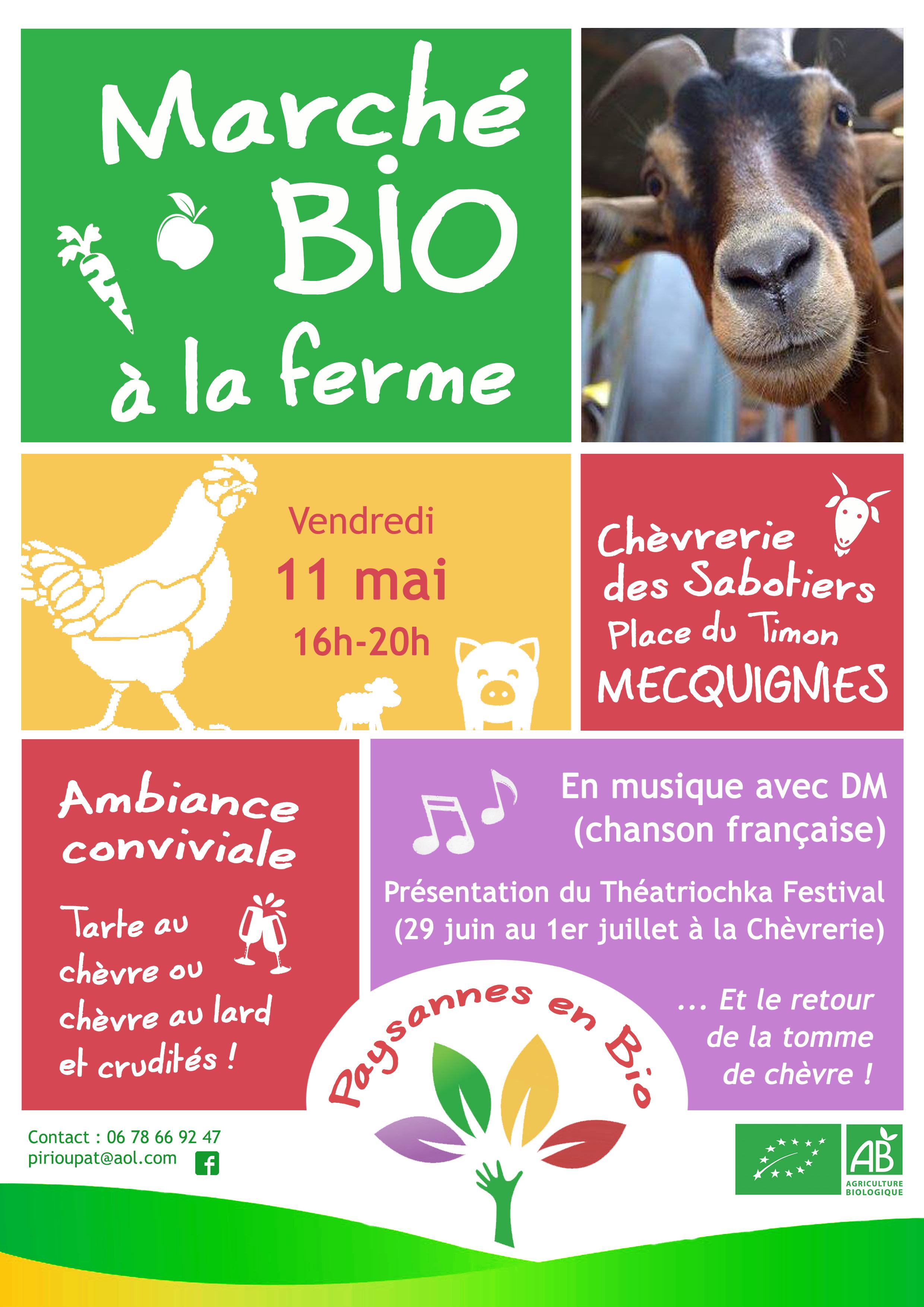 Marché bio à la ferme vendredi 11 mai à la Chèvrerie des Sabotiers de Mecquignies